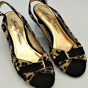 Beverly Feldman Wedge Sandals Animal Print sz 7M